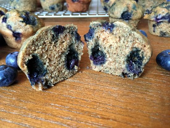 inside vegan blueberry muffins