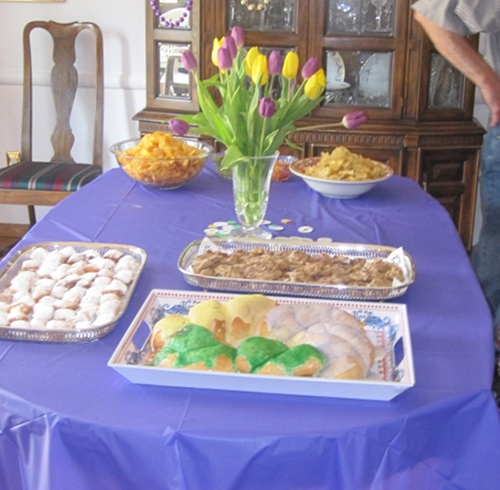 At my Mardi Gras themed baby shower, we went wild with treats... vegan King Cake, vegan beignets, vegan pralines, and Zapps chips! The only healthy thing we ate was vegan jambalaya.