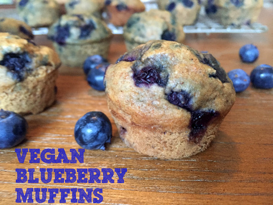 mini vegan blueberry muffins made with aquafaba