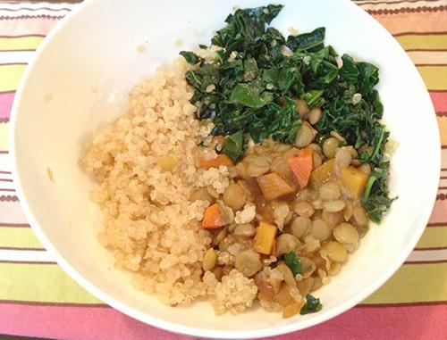 Quinoa lentil kale bowl for baby's dinner