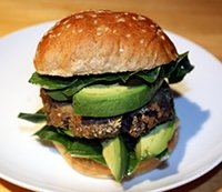 Vegan Black Bean Burger with Avocado